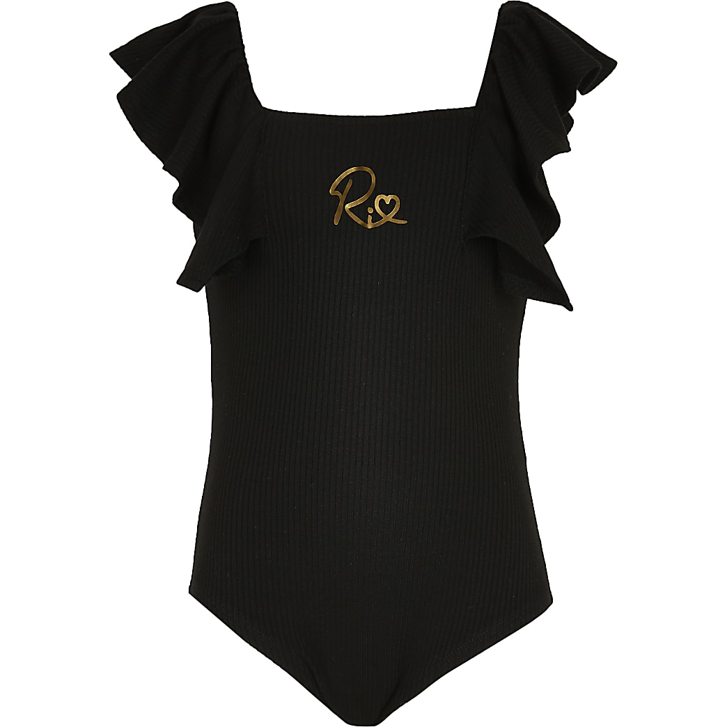 Age 13+ girls black ribbed bodysuit