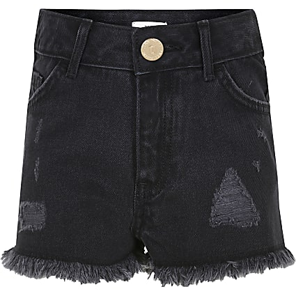 Age 13+ girls black ripped shorts