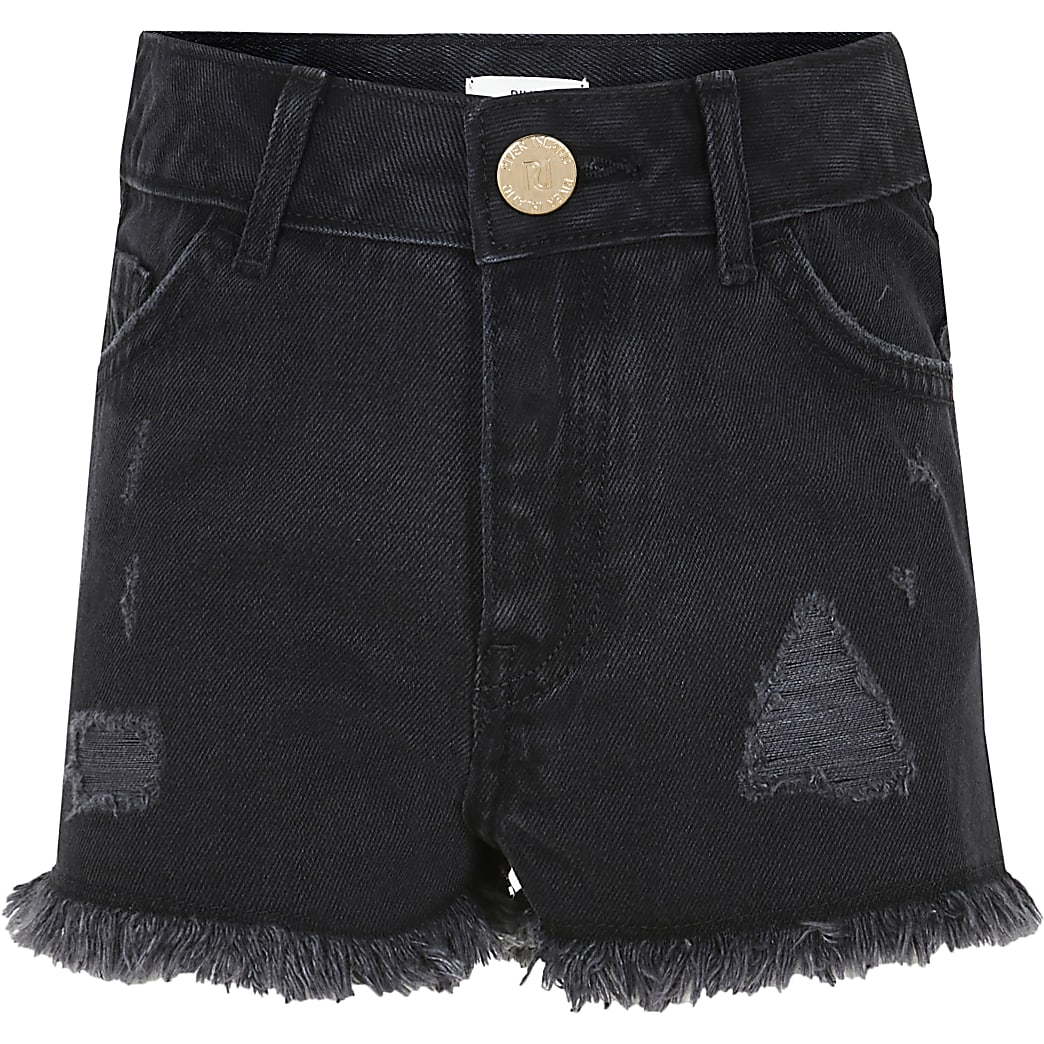 Age 13+ girls black ripped shorts