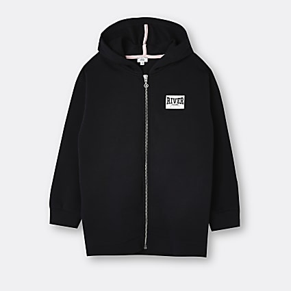 Age 13+ girls black River back print hoodie