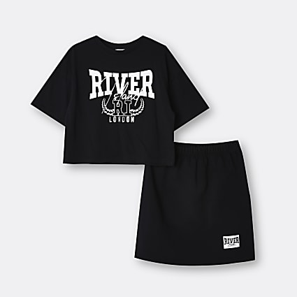 Age 13+ girls black River t-shirt and skirt