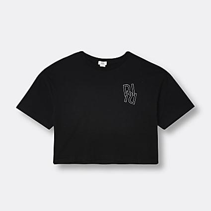 Age 13+ girls black RR chest print t-shirt