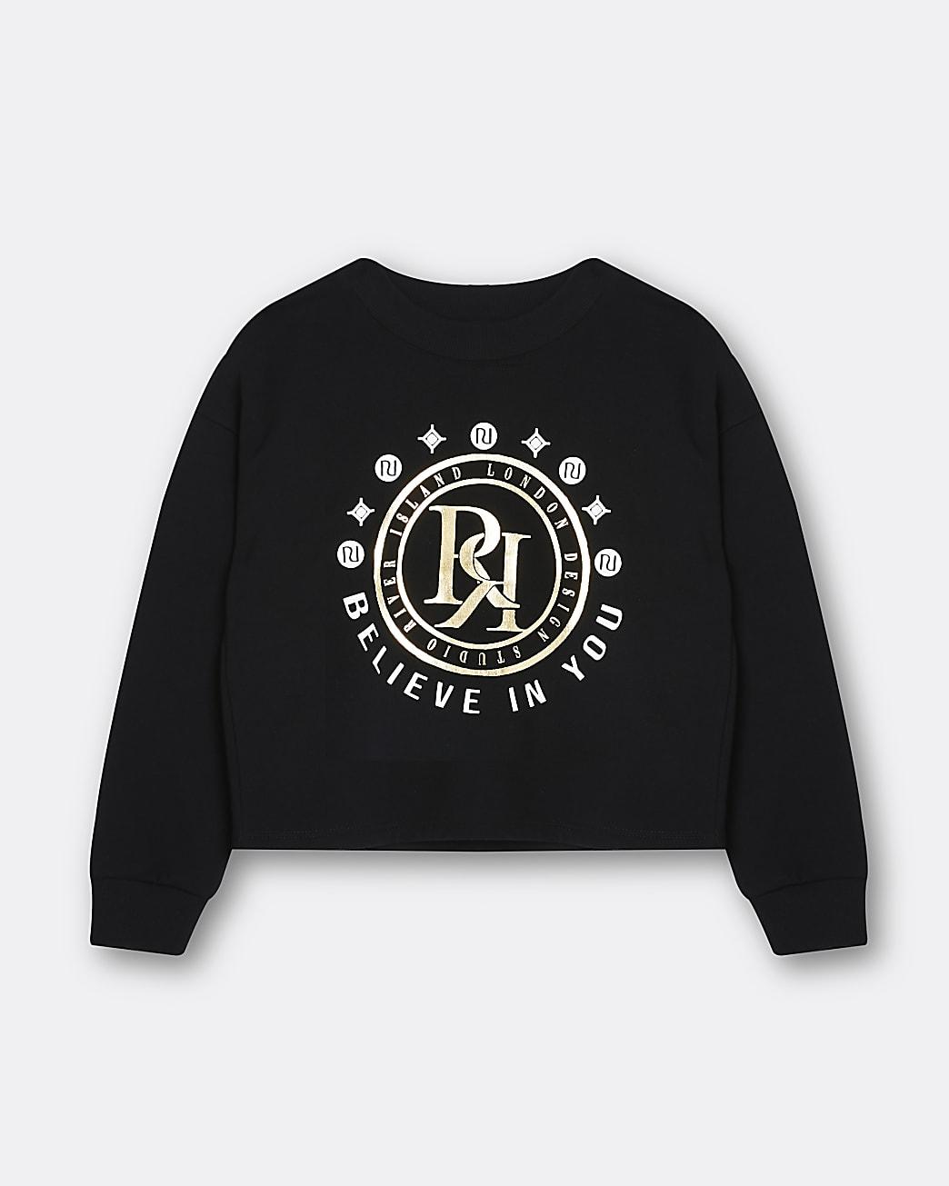 Age 13+ girls black RR print sweatshirt