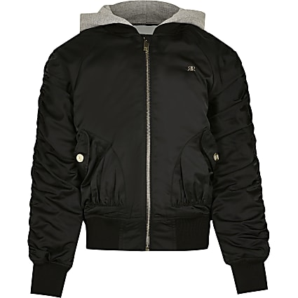 Age 13+ girls black ruched bomber jacket