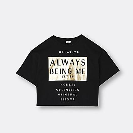 Age 13+ girls black slogan print t-shirt