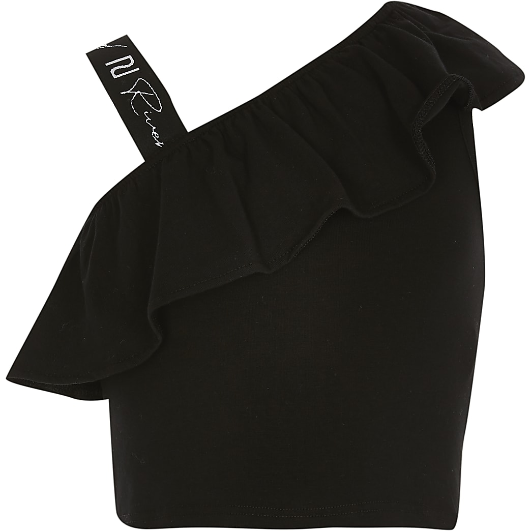 Age 13+ girls black strap shoulder crop top