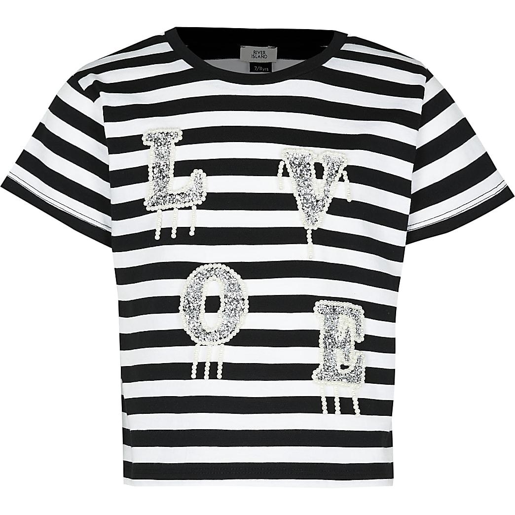 Age 13+ girls black stripe love t-shirt