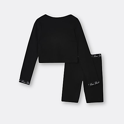 Age 13+ girls black top and shorts lounge set