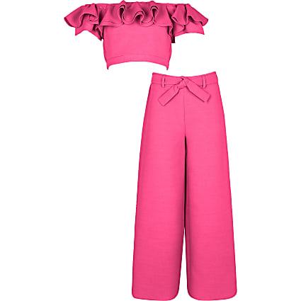 Age 13+ girls blue bardot and trouser set