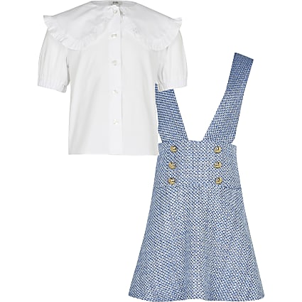 Age 13+ girls blue boucle 2 in 1 dress set