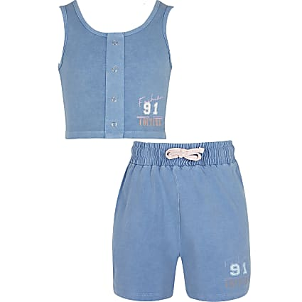 Age 13+ girls blue denim crop top and shorts