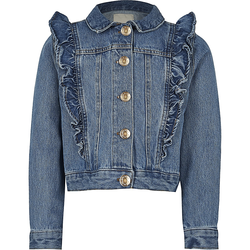 Age 13+ girls blue denim frill jacket