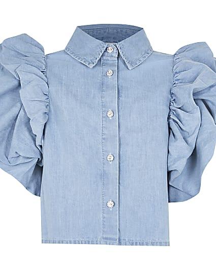 Age 13+ girls blue denim frill sleeve shirt