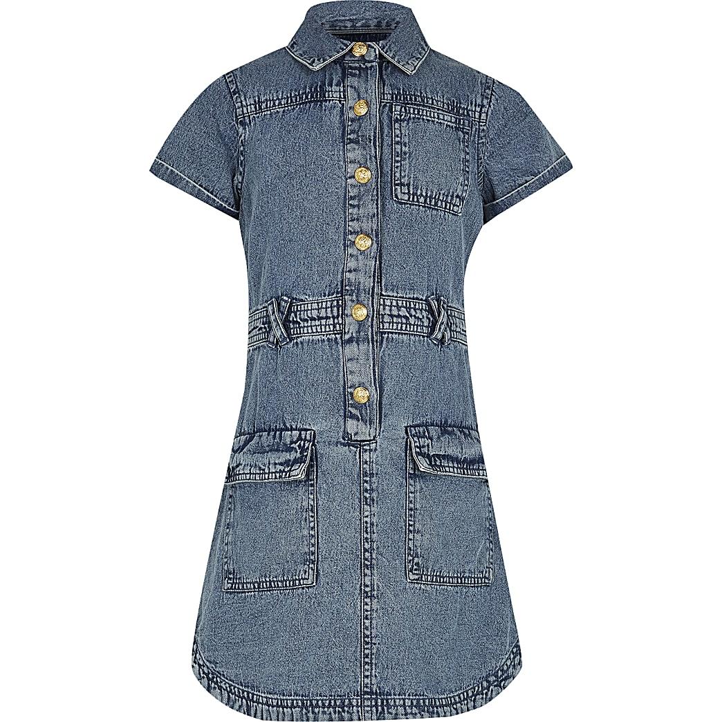 Age 13+ girls blue denim shirt dress