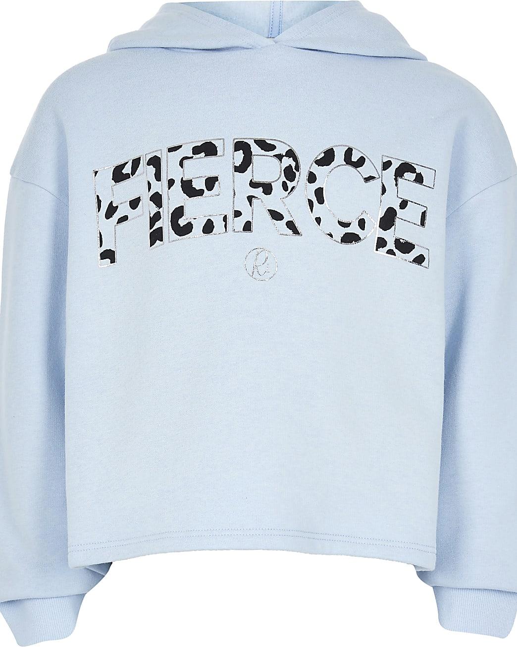 Age 13+ girls blue 'Fierce' print hoodie