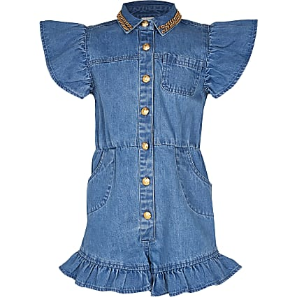 Age 13+ girls blue frill denim playsuit