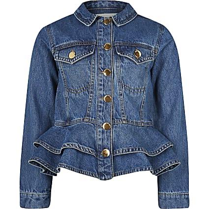 Age 13+ girls blue frill hem denim jacket