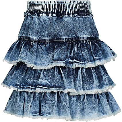 Age 13+ girls blue frill hem denim skirt