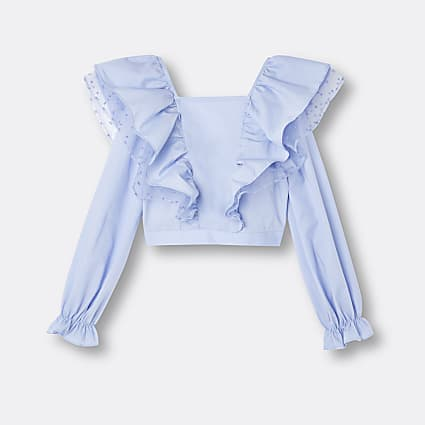 Age 13+ girls blue frill organza blouse top
