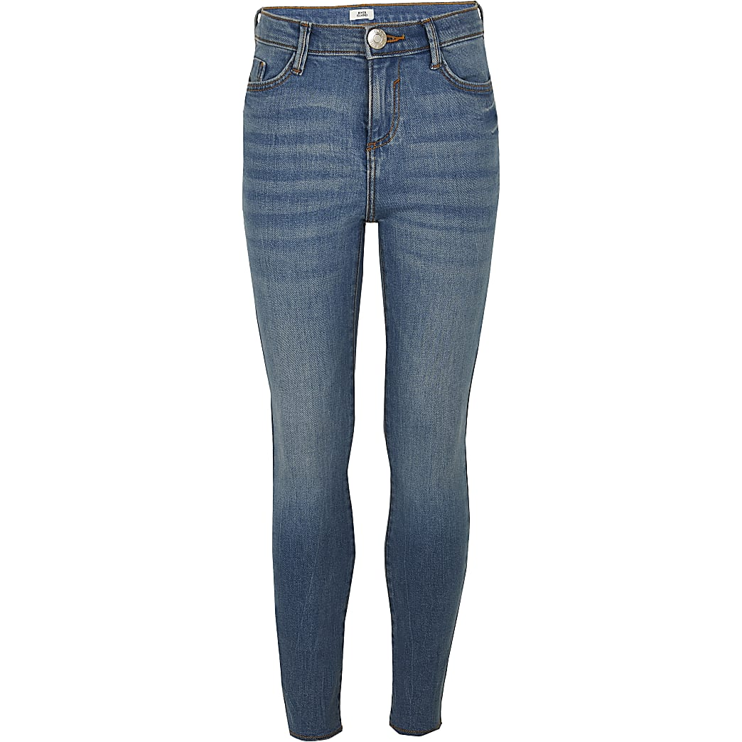 Age 13+ girls blue mid rise skinny jeans