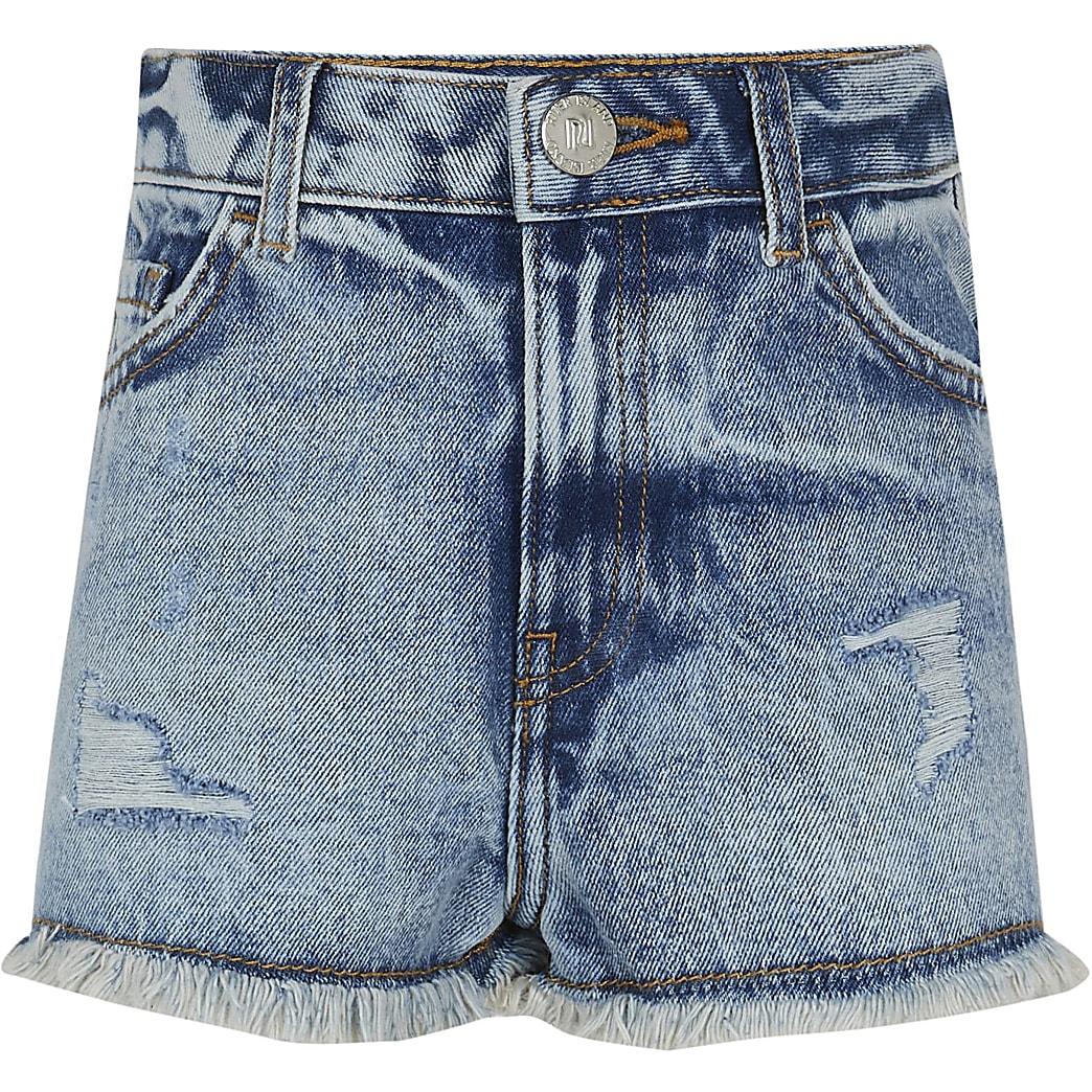 Age 13+ girls blue Mom denim shorts