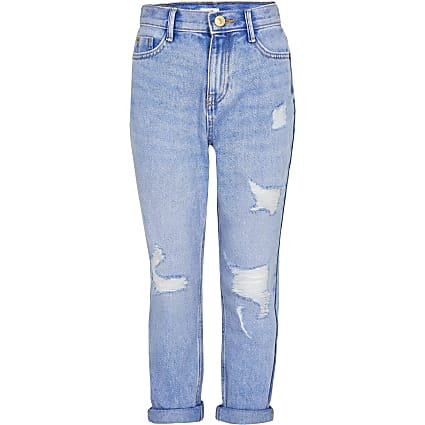 Age 13+ girls blue Mom ripped jeans