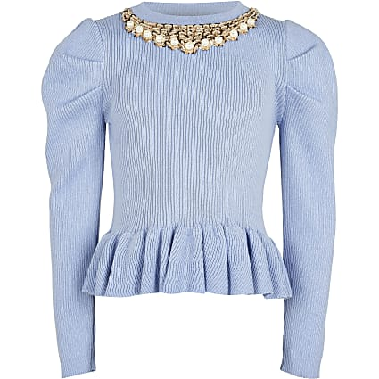 Age 13+ girls blue necklace peplum Jumper