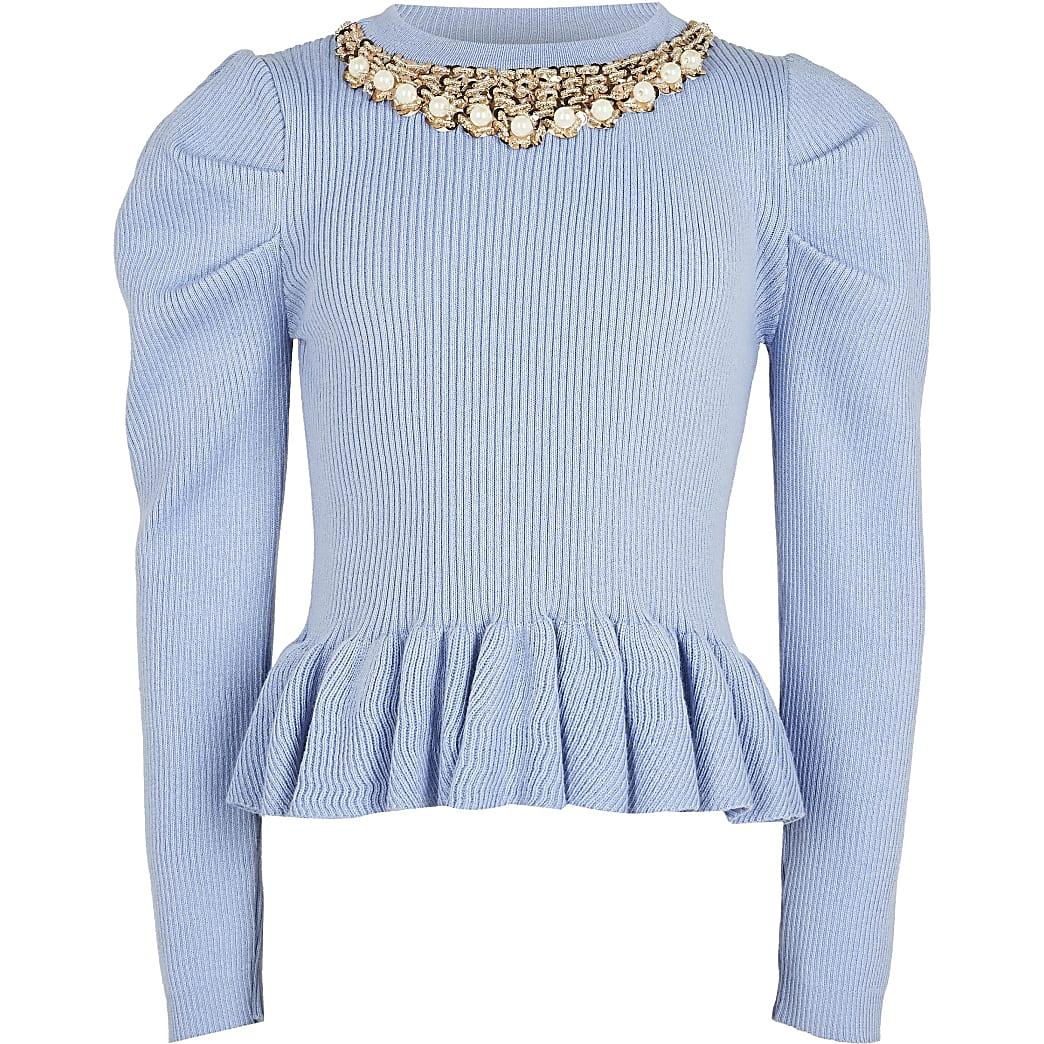 Age 13+ girls blue necklace peplum Jumper
