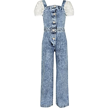 Age 13+ girls blue organza denim jumpsuit