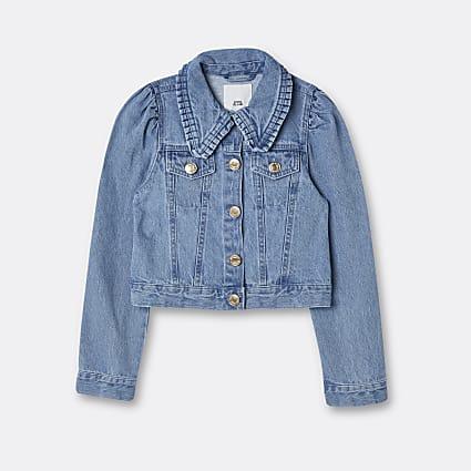 Age 13+ girls blue puff sleeve denim jacket