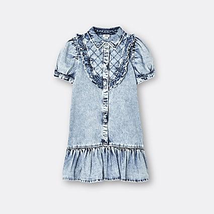 Age 13+ girls blue quilted denim shirt dress