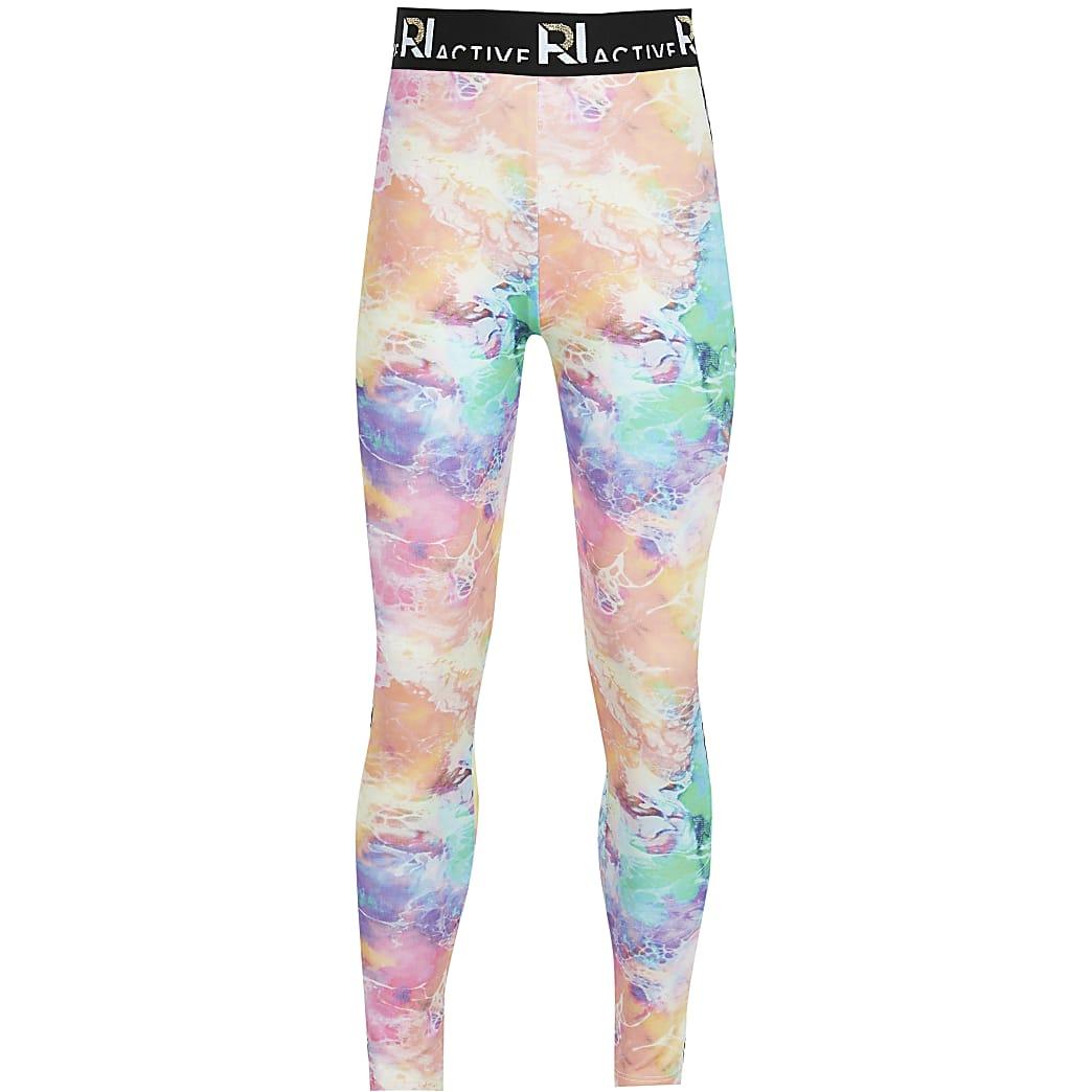 Age 13+ girls blue RI Active tie dye leggings