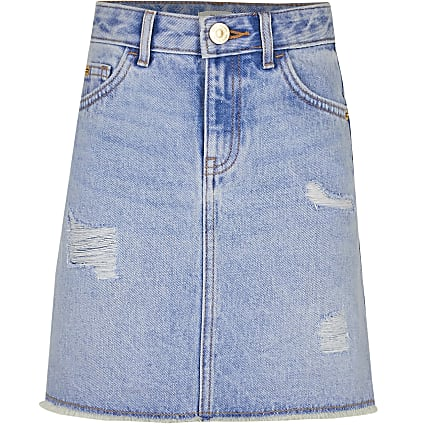 Age 13+ girls blue ripped denim skirt