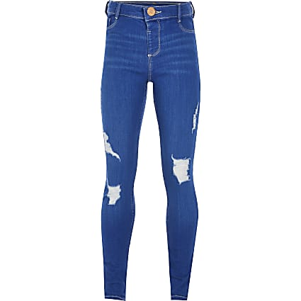 Age 13+ girls blue ripped jeggings