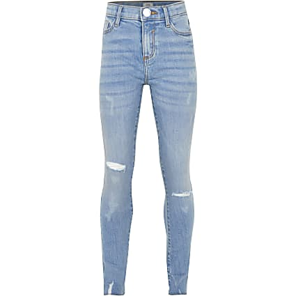 Age 13+ girls blue ripped skinny jeans