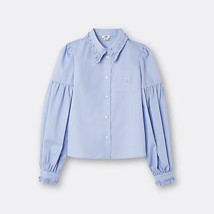 Age 13+ girls blue RIR frill collar shirt