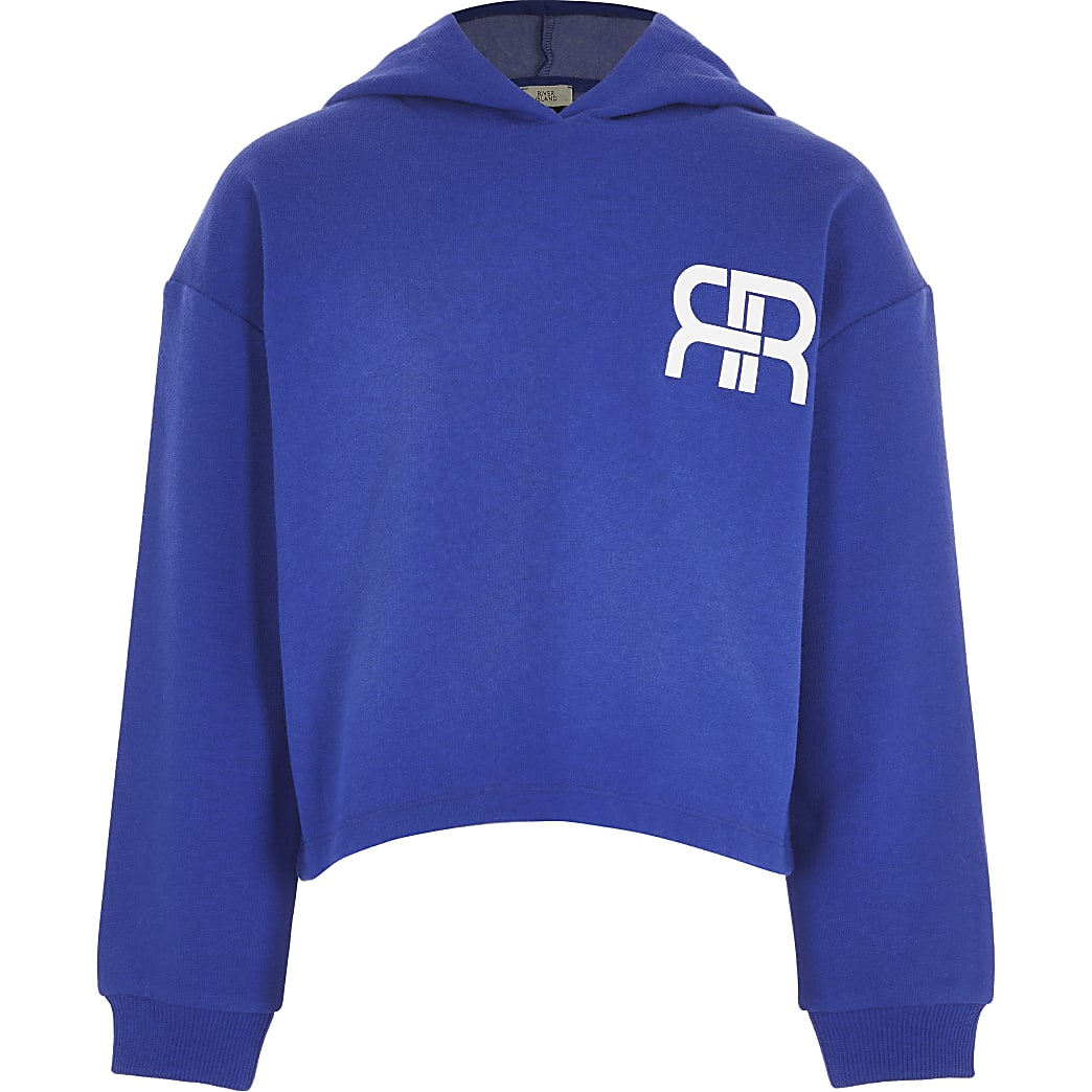 Age 13+ girls blue RR chest logo hoodie