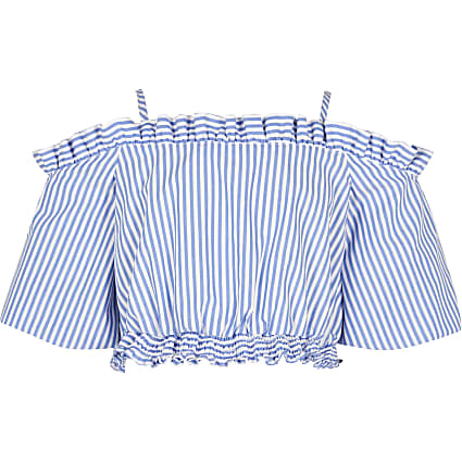 Age 13+ girls blue stripe bardot top