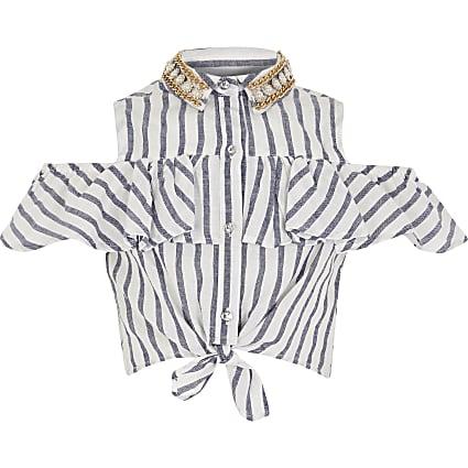 Age 13+ girls blue stripe embellished shirt