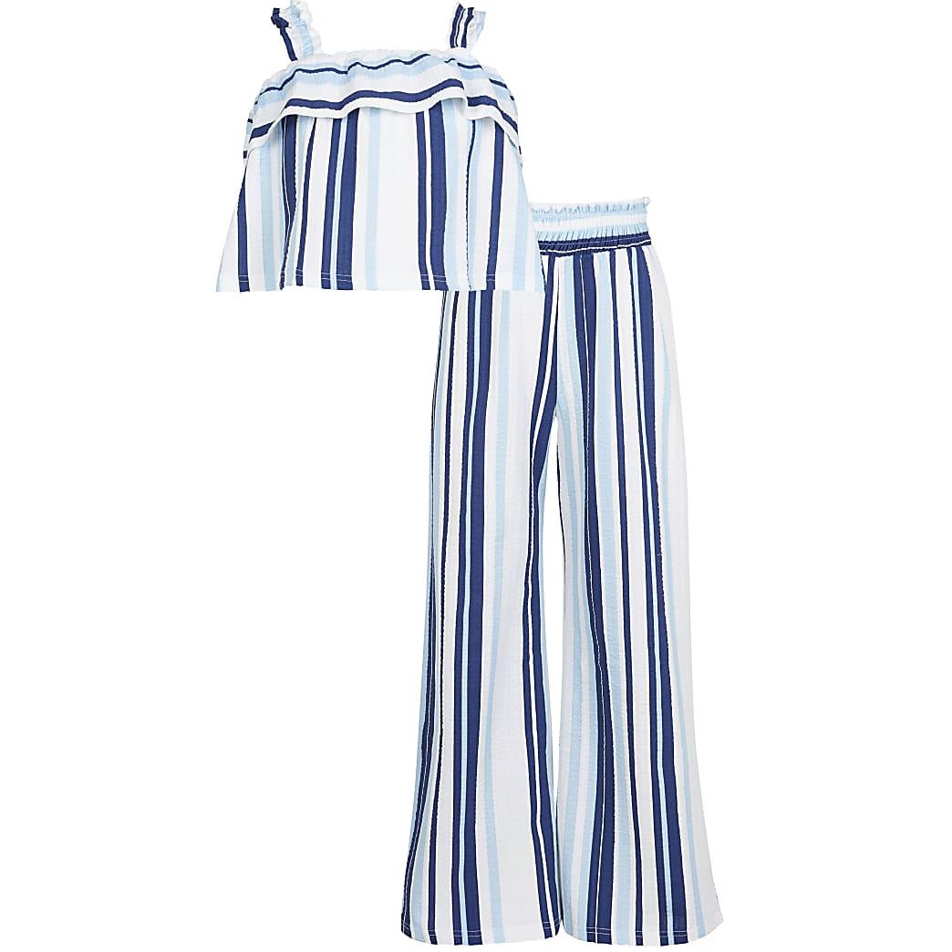 Age 13+ girls blue stripe frill cami top