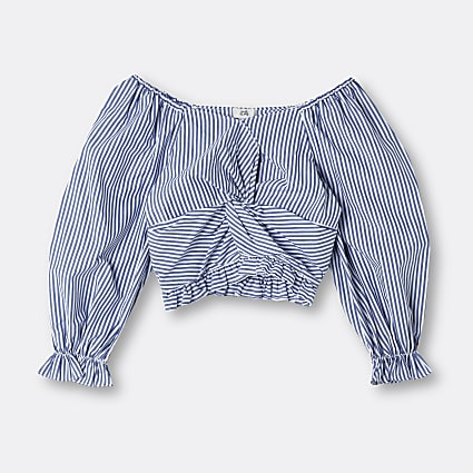 Age 13+ girls blue stripe knot front top