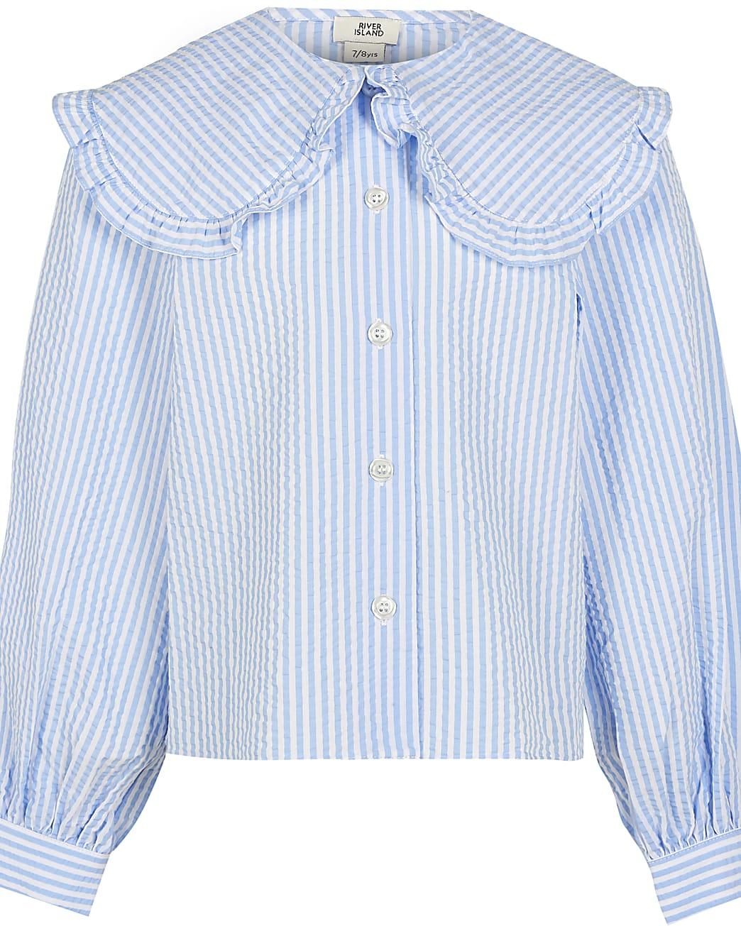 Age 13+ girls blue stripe shirt