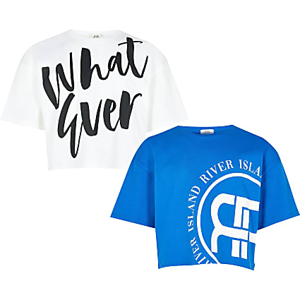 Age 13+ girls blue 'Whatever' t-shirt 2 pack
