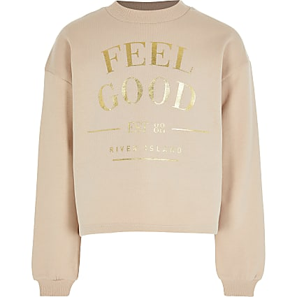 Age 13+ girls brown 'Feel Good' sweatshirt