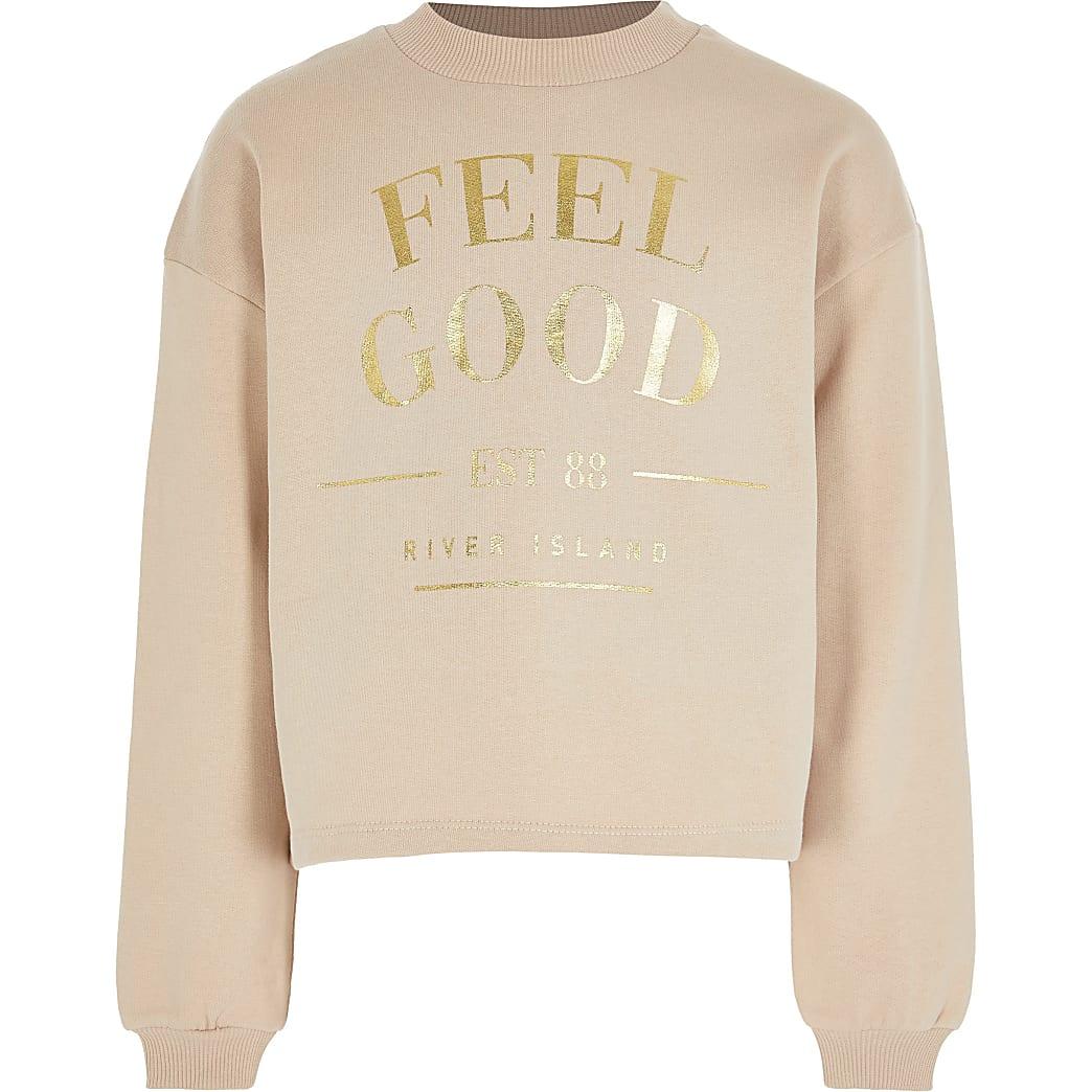 Age 13+ girls brown 'Feel Good' sweatshirt