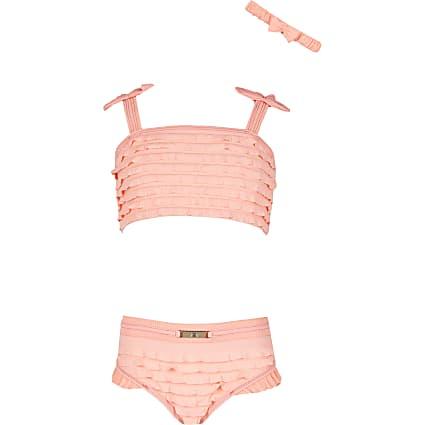 Age 13+ girls coral ruffle bikini set