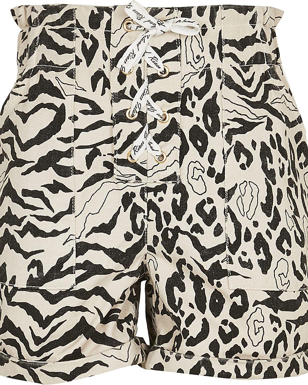 Age 13+ girls cream animal paperbag shorts