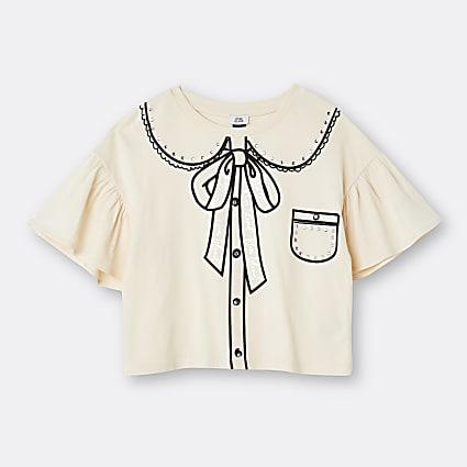 Age 13+ girls cream collar frill t-shirt