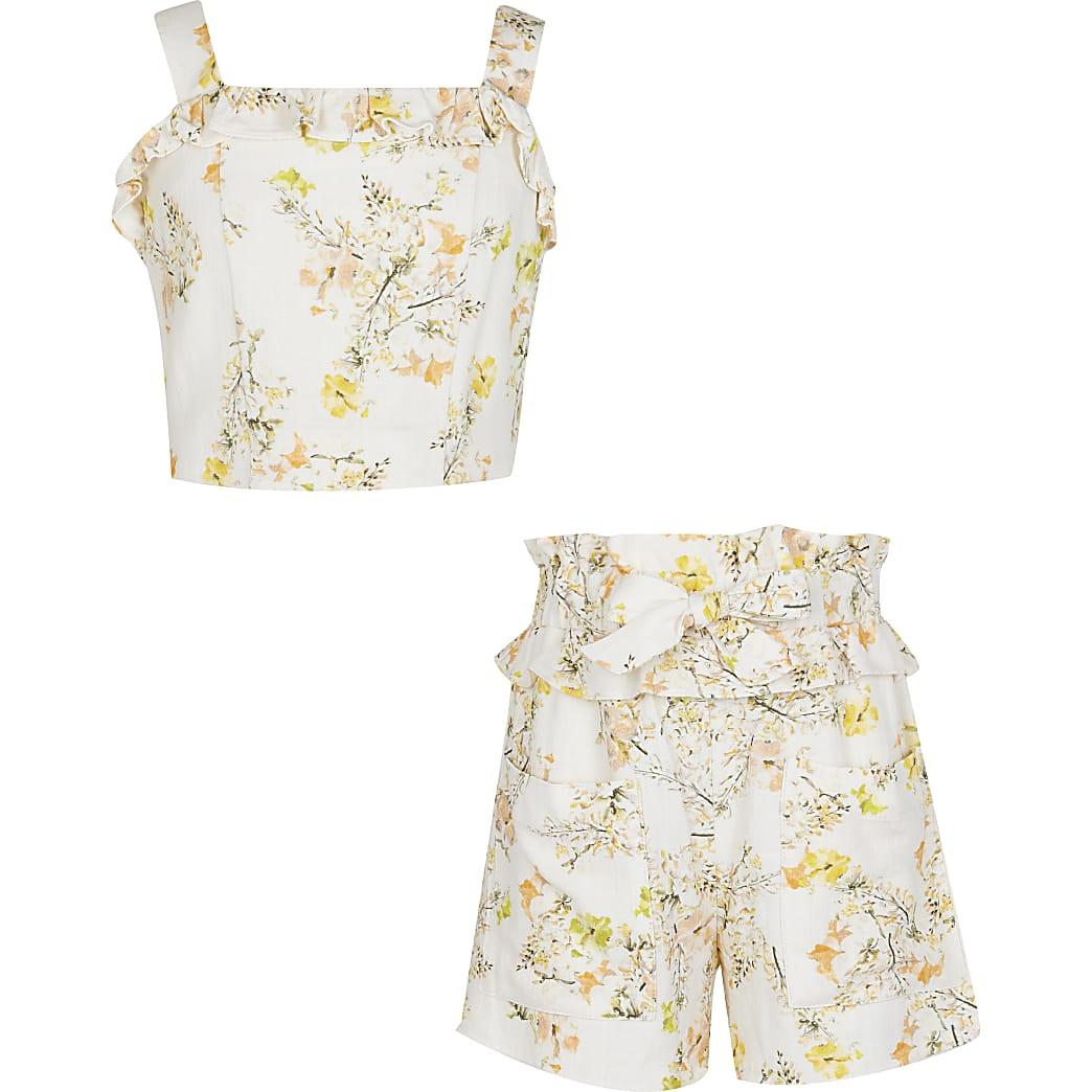 Age 13+ girls cream floral crop short set
