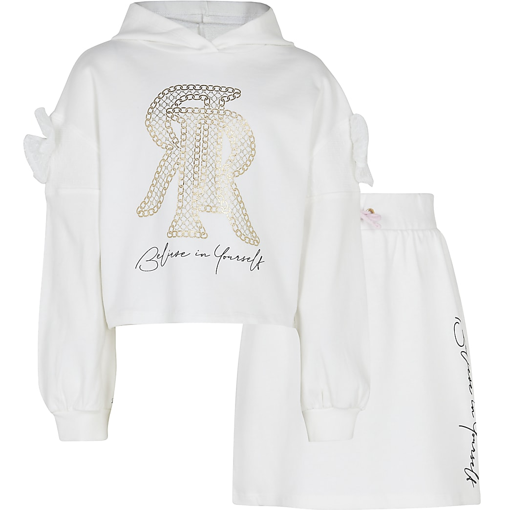 Age 13+ girls cream hoodie and skirt outfit